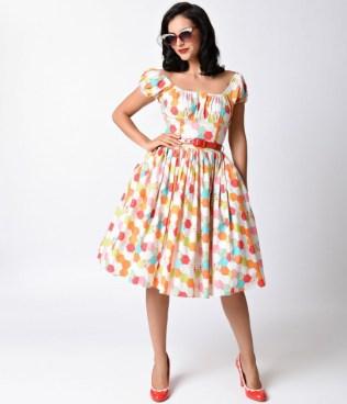 bernie_dexter_1950s_style_multicolor_honeycomb_jodi_cotton_swing_dress-1