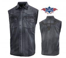 ENZO SHORT Westernhemd im Fade-Out-Look mit Stickerei auf dem Rücken. Brusttaschen und Druckknöpfe. Material: 100% Baumwolle Größen: S | M | L | XL | XXL | 3XL