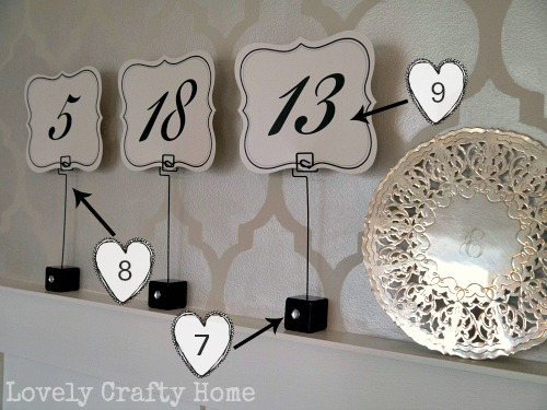 table numbers and holders