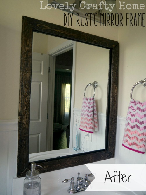 DIY Rustic Mirror Frame - Removable and Damage Free!