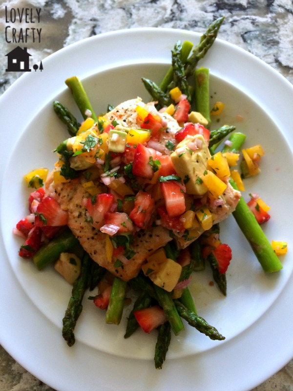 Strawberry Salsa Topped Salmon with Asparagus
