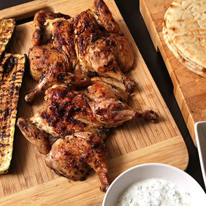 Easy Grilled Cornish Hens and Zucchini With Greek Marinade, Tzatziki, and Greek Salad Recipe