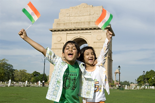 Kids with Tiranga Jhanda HD Images