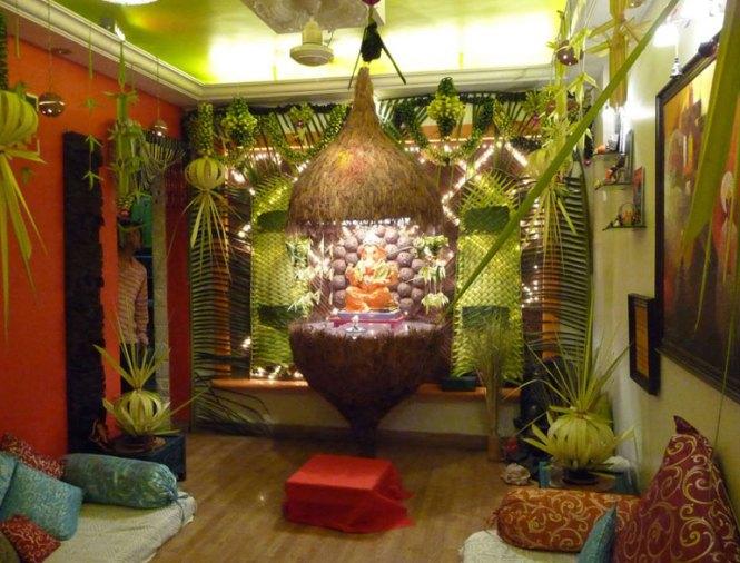 ganpati_decoration_ideas_for_home Cute and easy Small Ganpati Pandal decoration Ideas
