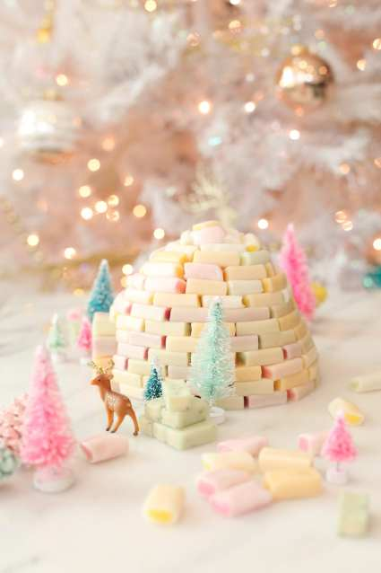 diy candy igloo holiday decoration from Lovely Indeed