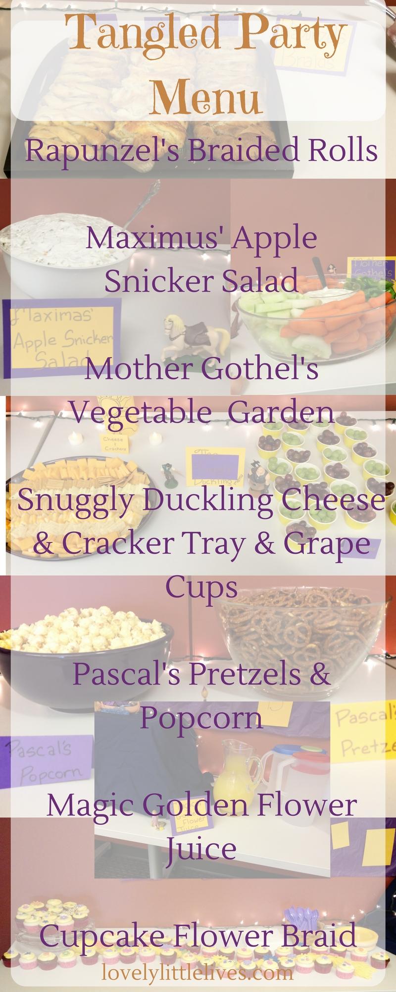 Tangled birthday party menu