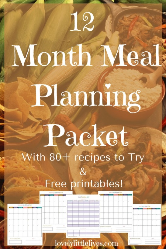 12 Month Meal Planning Packet for free with 80+ Recipes to Try #mealplanning #2018mealplanningcalendar #newrecipes