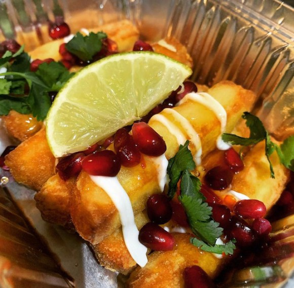 Halloumi fries with pomegranate seeds from Let's Taco 'Bout It Derby