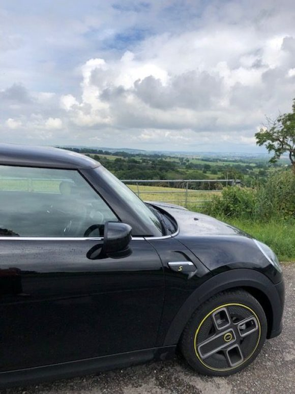 driving the Mini Electric in Derbyshire