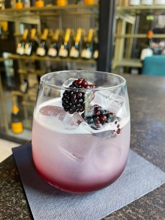 Bramble cocktail at Bradmans Wine Cellar Matlock