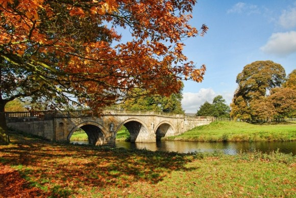 Derbyshire Day - an ancient bridge and autumnal leaves