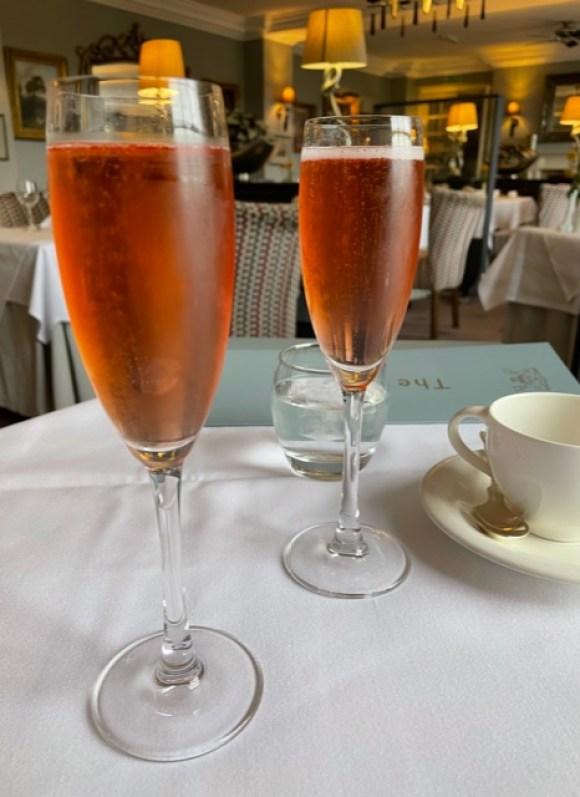 rosé champagne at Cavendish Hotel Baslow