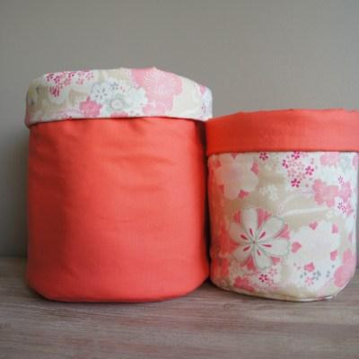 Corbeilles tissu japonais et corail