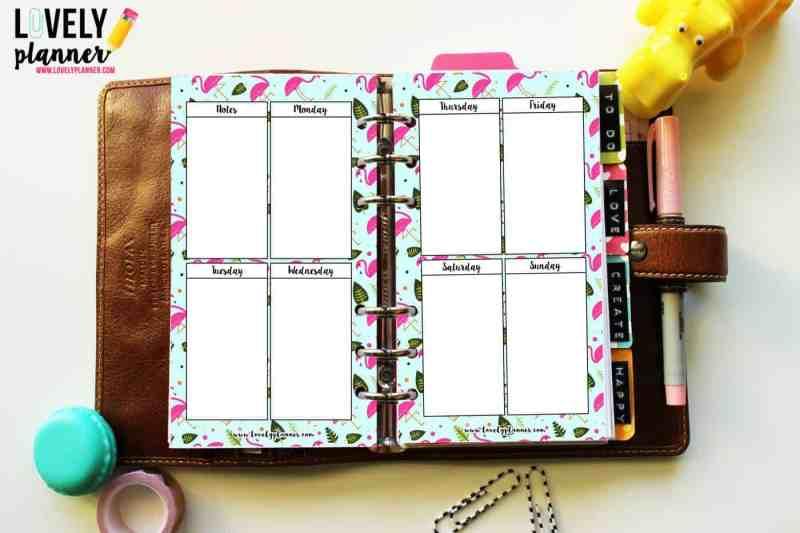 {Freebie} Flamingo planner inserts - WO2P vertical layout