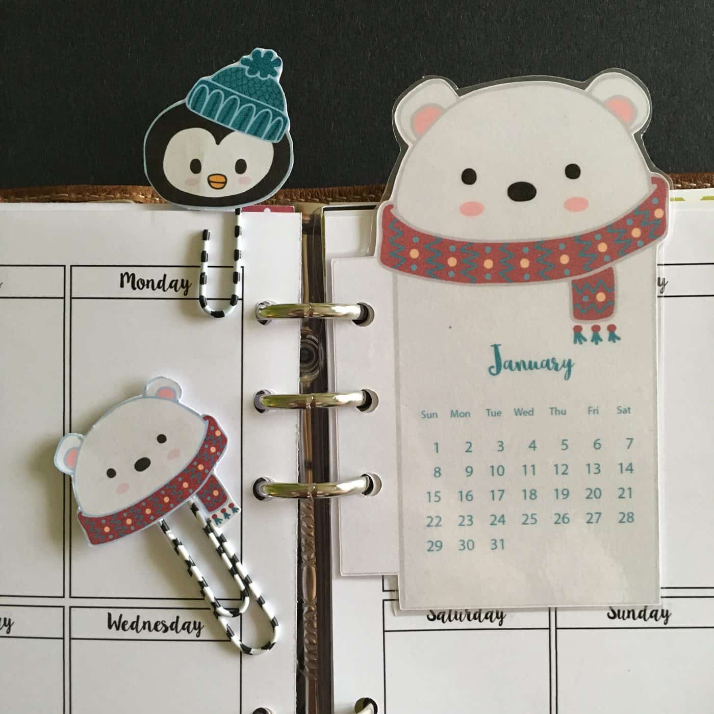 Polar Bear Calendar Paperclips
