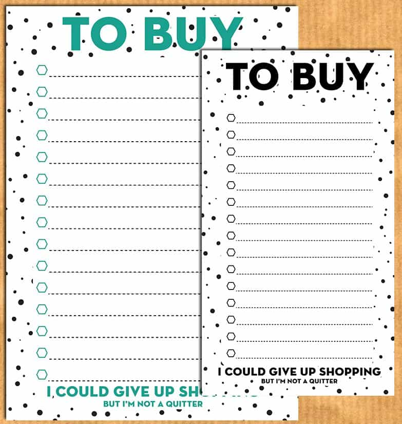 To buy / shopping list planner inserts for A5 & personal planners - Free printable {Advent calendar - Day 10}