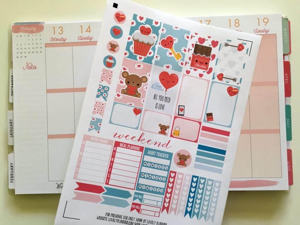 Love Valentine S Day Planner Stickers Weekly Kit