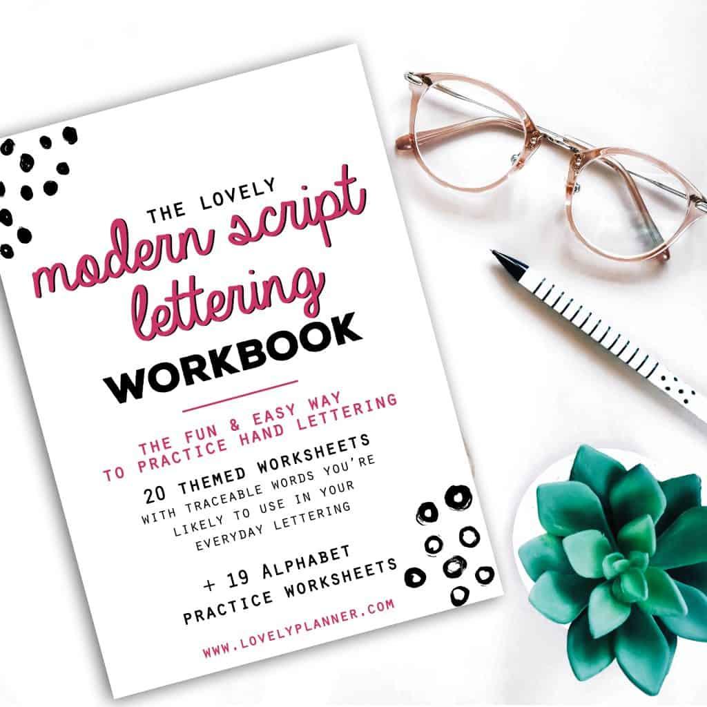 New Modern Script Lettering Workbook 2 Free Fall