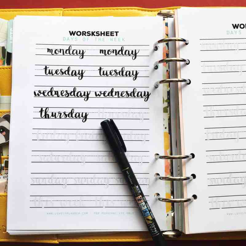 Days of the Week - Free Lettering Practice Worksheets for Planners and Bullet Journals enthusiasts