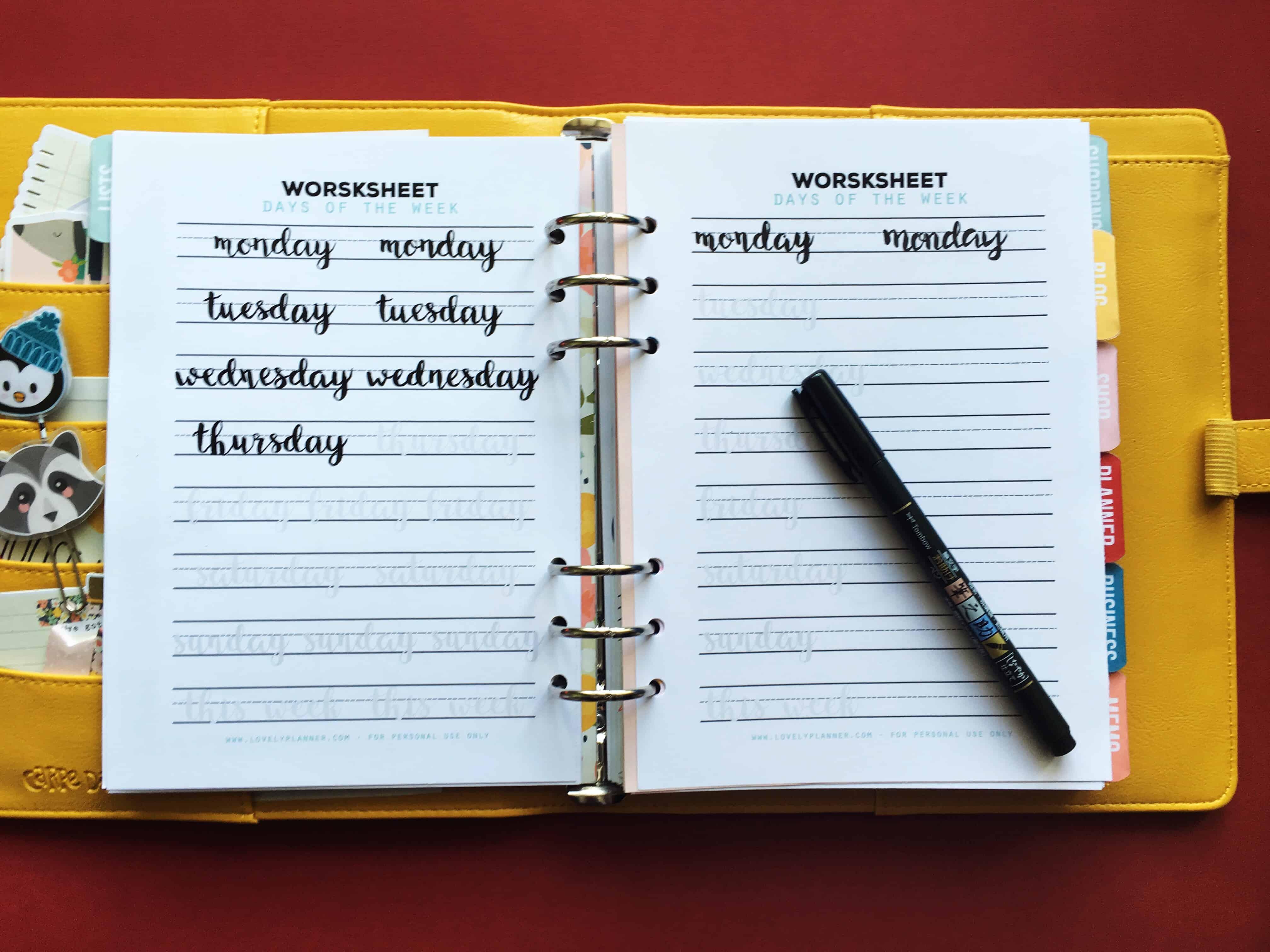 Lettering Worksheet For Planners Bullet Journals