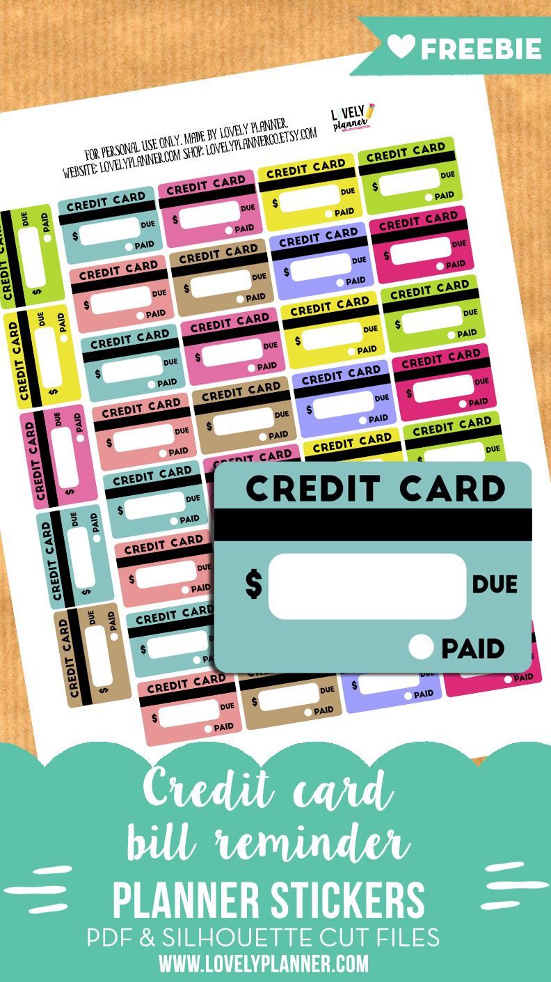 Free Credit Card Bill Reminder Stickers Printable Cut