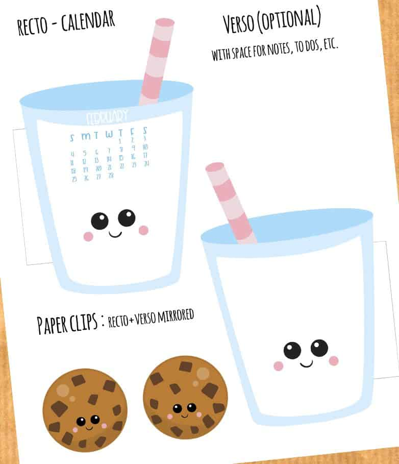 FREE Milk and Cookies Calendar Divider + Paperclip - February 2018