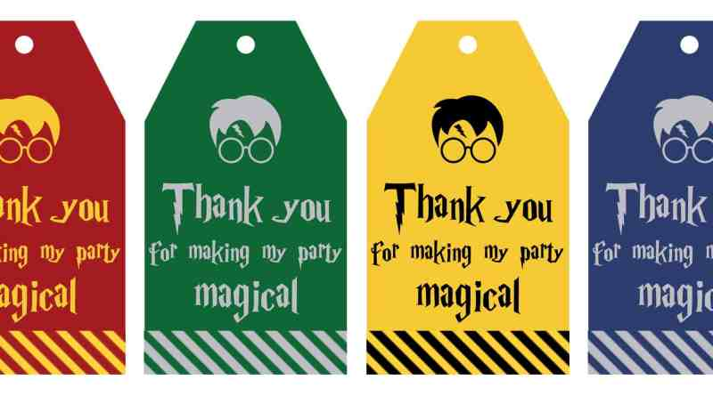 """Free Printable Harry Potter Party favor gift tags in 4 different colors to match the 4 different Hogwart's Houses. Each gift tag says """"Thank you for making my party magical"""", perfect to add to your party favors for your harry potter birthday, harry potter baby shower, halloween party, etc! #harrypotter #harrypotterparty #halloween #party #partyfavor #gifttags #freeprintable"""