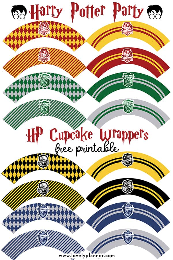 Free Printable Harry Potter Cupcake Wrappers for your Harry Potter Party. With matching cupcake toppers and cupcake wrappers for the 4 Hogwarts Houses. #freeprintable #harrypotter #harrypotterparty #halloween #gryffindor #hufflepuff #slytherin #ravenclaw #cupcake #cupcakewrappers #lovelyplanner