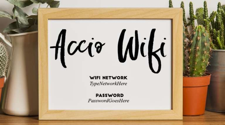 Accio Wifi Harry Potter Free Printable Wifi Password Sign to make your guests feel welcome and decorate your home with fun details. Perfect for Harry Potter lovers! #home #freeprintable #wifi #wallart #guest #decor #lovelyplanner