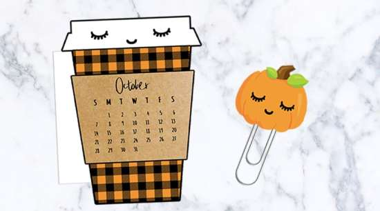 FREE printable Fall Coffee cup calendar divider + pumpkin paperlcip to decorate your planner. #freeprintable #planner #bujo #kawaii #starbucks #pumpkin #fall #autumn #lovelyplanner