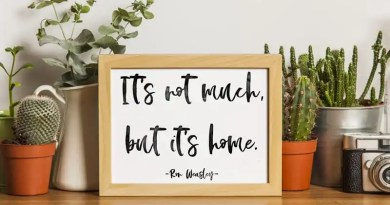"Free Printable Harry Potter Quote Wall Art: ""It's Not Much, But It's Home"", perfect for Potterheads and Ron Weasley fans - 3 signs versions are included. #freeprintable #harrypotter #wallart #homedecor #home #quote #lovelyplanner"