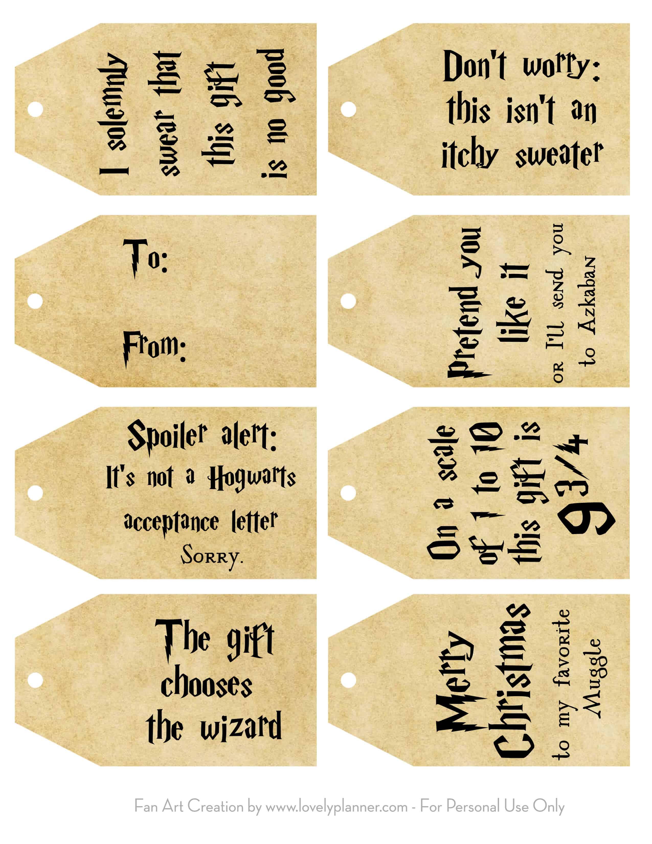 Free Printable Harry Potter Christmas T Tags