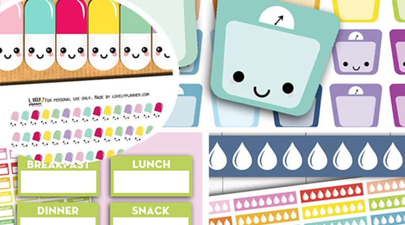 graphic regarding Free Printable Food Planner Stickers called Exercise Planner Printables