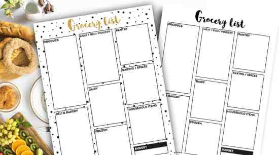 Free Printable Grocery List to organize your meals and grocery trips #freeprintable #fitness #mealplanner #lovelyplanner