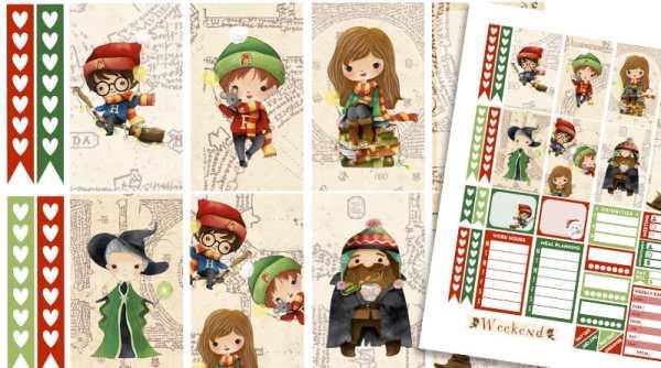 FREE Printable weekly kit Christmas Harry Potter Planner Stickers #harrypotter #planner #plannerstickers #happyplanner #lovelyplanner