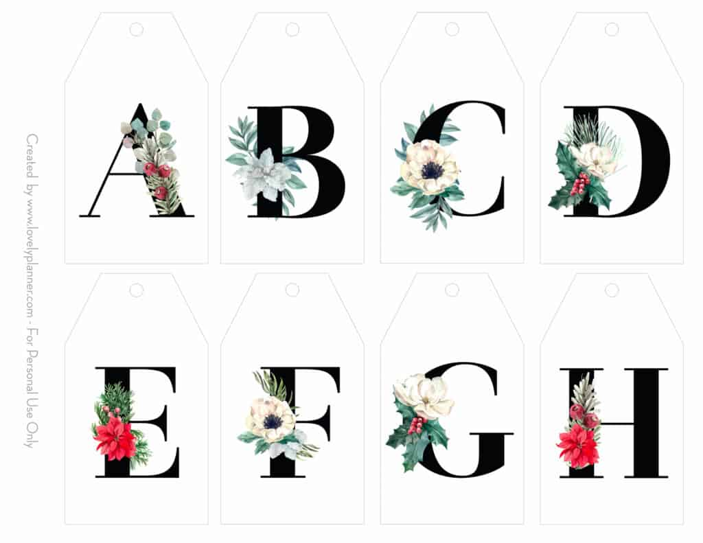 Free Printable Christmas Initial T Tags Floral Letters