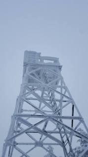 Rime-covered firetower