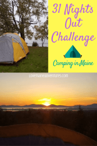 camping, maine, kids, 31 nights out challenge