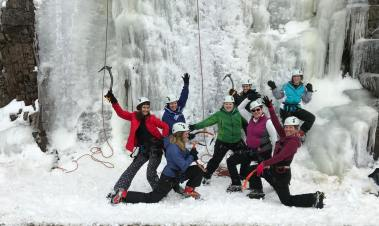 Ice climbing in Acadia National Park