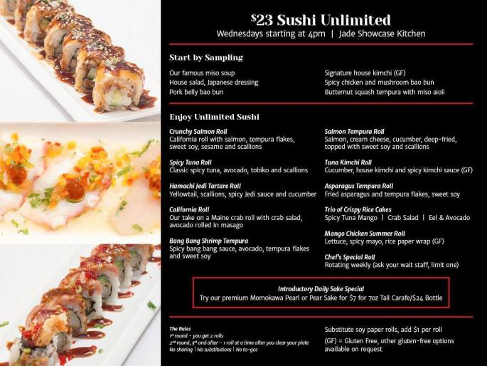 Sushi Unlimited Menu at Oriental Jade, best places to eat in Bangor