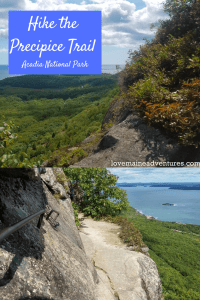 Hiking the Precipice Trail up Champlain Mountain in Acadia National Park