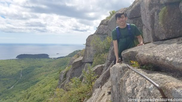hiking up the Precipice Trail in in Acadia National Park
