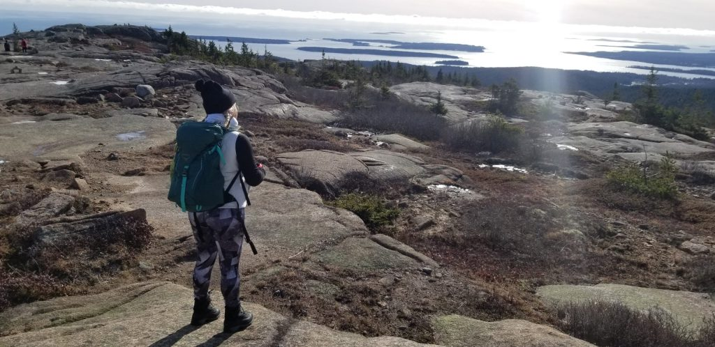 Penobscot Mountain summit in Acadia National Park winter hike