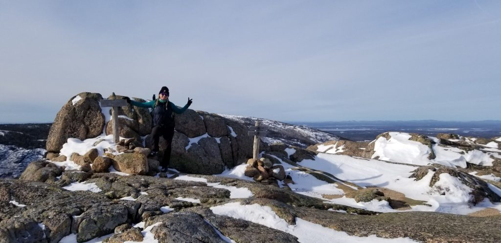 Summit of Pemetic Mountain in the winter - Acadia National Park