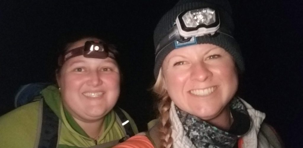 hiking chick hill with Amanda from She Summits to see the Aurora Borealis