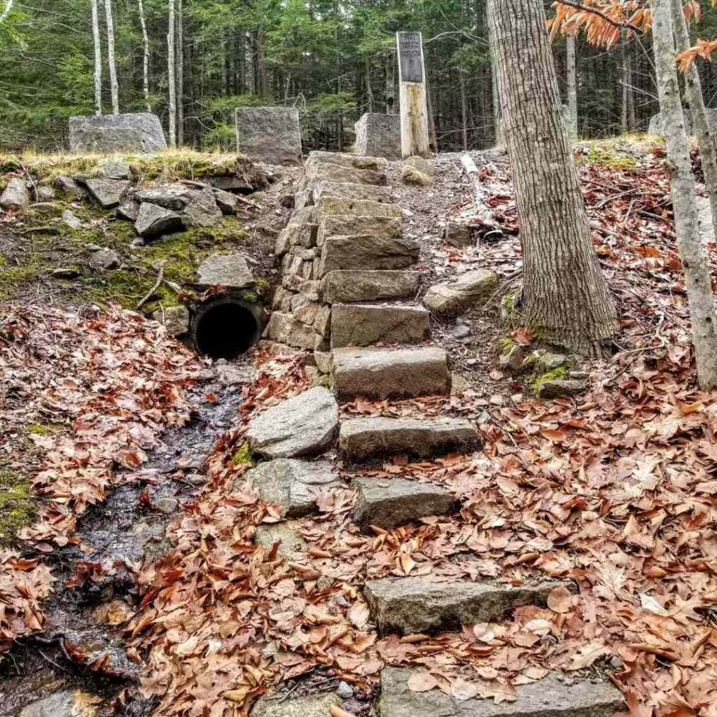 Stairs on Kebo Mountain in Acadia National Park