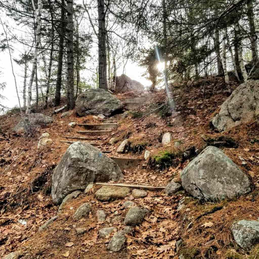 Kebo Mountain trail with sun