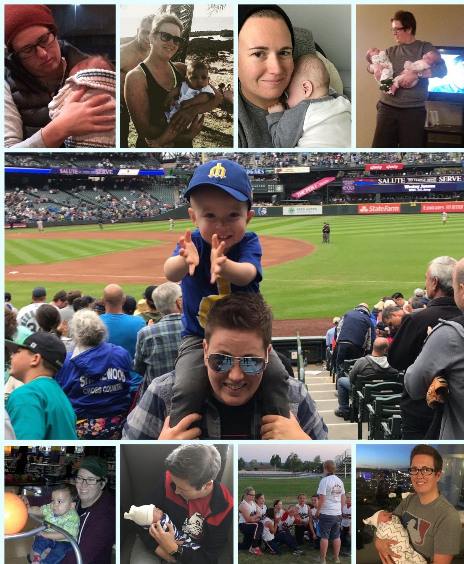 Image compilation of butch lesbian enjoying time with various babies and children as part of her pregnancy journey
