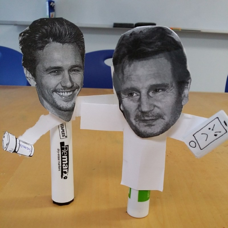I love my students. Marker Liam Neeson has been joined by Marker James Franco.