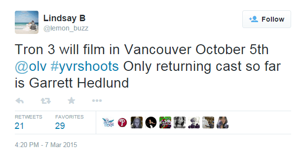 Tron 3 will film in Vancouver October 5th @olv #yvrshoots Only returning cast so far is Garrett Hedlund